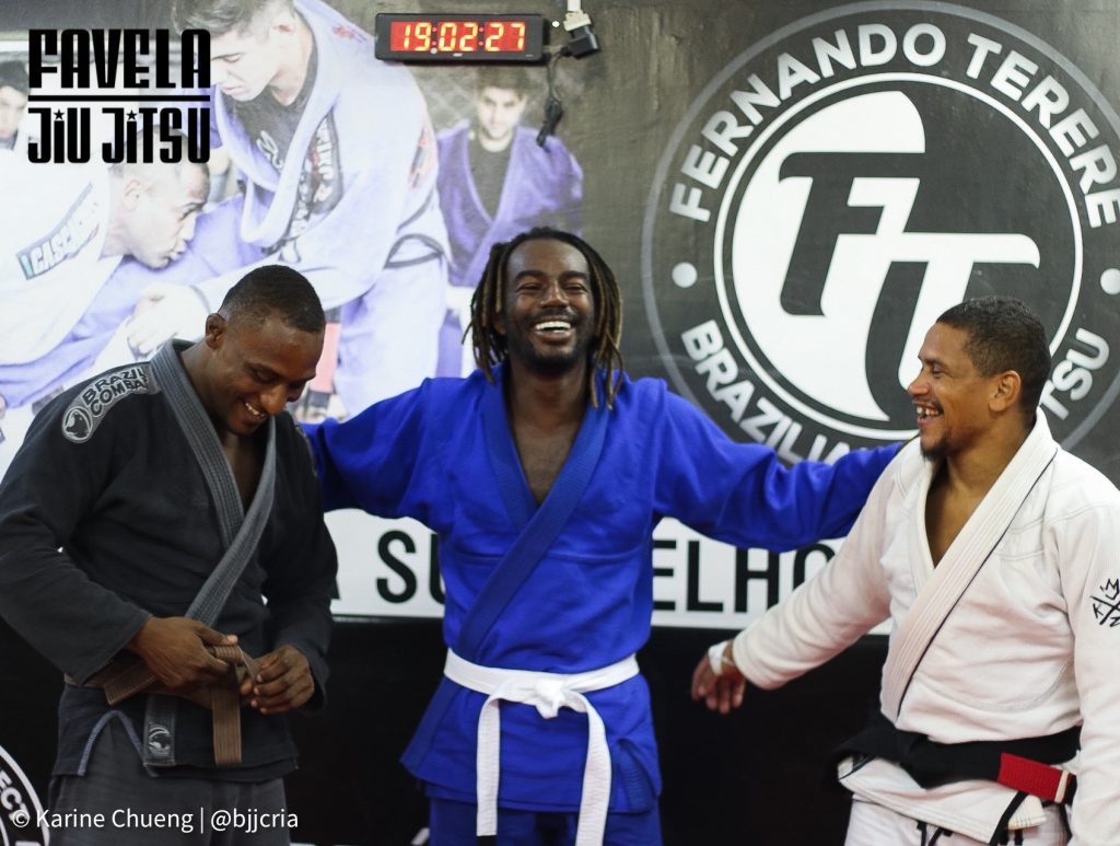 Instructor Buda, Jonathan Azevedo, and head coach Fabricio Silva at Terere Kids Project