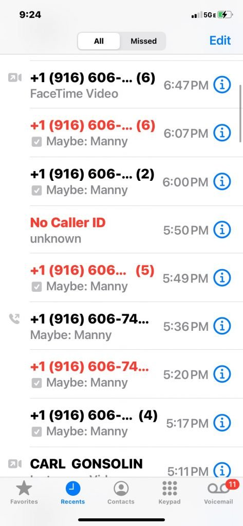 Manny Ray Gonzales Phone record